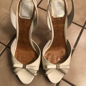White sling back Christian dior heels